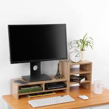 organiseur de bureau en bois support d écran d ordinateur de bureau en bois 3 couche