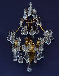 Antique Rock Crystal Chandelier Pair Of French Gilded Bronze And Rock Crystal U0027lyre U0027 Wall Lights