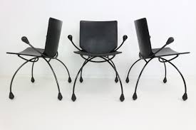 Gray Leather Dining Chairs Funky Black Leather Dining Chairs 1980s 63697