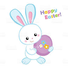 happy easter cute easter bunny holding an egg stock vector art