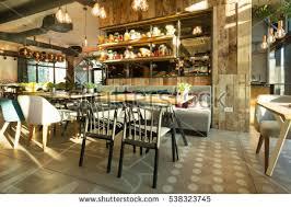 interior modern urban restaurant morning sunlight stock photo