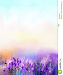 oil painting lavender flowers in the meadows stock illustration