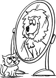 activity animal cat lion mirror coloring page wecoloringpage
