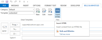 how to insert html source code to outlook emails