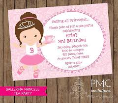 ballerina princess tea party birthday invitations 1 00 each with