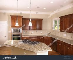 luxury kitchen corner island stove stock photo 14355604 shutterstock