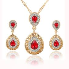 bridal wedding necklace set images Elegant crystals and stone in gold chain wedding bridal jewelry jpg