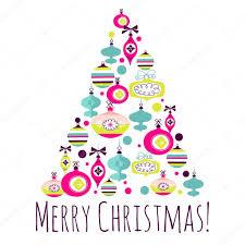 beautiful christmas tree illustration christmas card u2014 stock