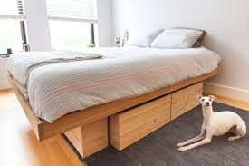 queen platform bed with storage and headboard bookcase gallery