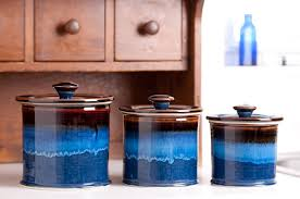 blue kitchen canisters georgetown pottery canister set