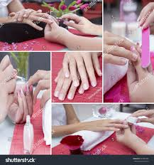 manicure collage consisting four pictures hands stock photo