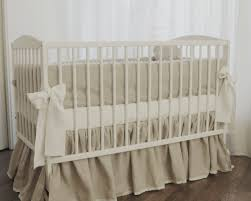 Beige Crib Bedding Set Linen Crib Bedding Gathered Skirt And 4 Side Bumper Nursery