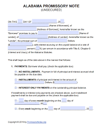 alabama unsecured promissory note template promissory notes