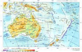 Russian Map Detailed Physical Map Of Australia And Oceania In Russian Map Of
