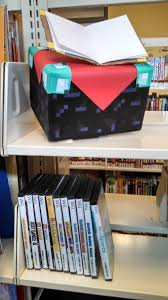 diy minecraft enchanting table on display to promote the library u0027s