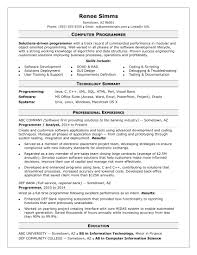 resume exles college students applying internships in nyc sle resume for a midlevel computer programmer monster com
