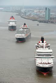cunard u0027s queen victoria and queen elizabeth ships join queen mary
