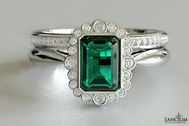 vintage emerald engagement rings vintage emerald and diamond engagement ring with band new
