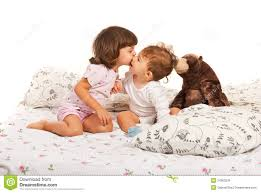 girls first bed first kiss royalty free stock image image 34063536