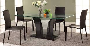Glass Wood Dining Room Table Modern Dining Room Table Set With Glass Base And Four Chairs Las