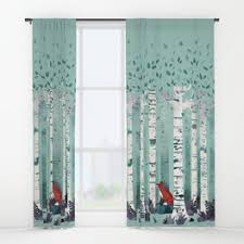 Red Blue Curtains Window Curtains Society6
