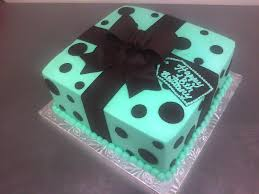 custom made cakes teal brown polka dotted gift box cake made custom cakes