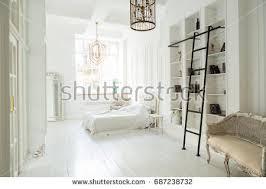White Bedroom Interior Design 3d Illustration Spherical 360 Degrees Seamless Stock Illustration