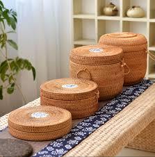 handmade rattan woven pu erh tea cake storage canister kitchen