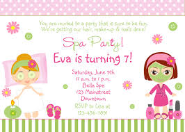 spa themed birthday party invitation for girls with polka dot pink