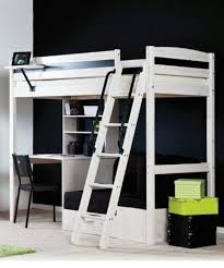 white stora loft bed from ikea notice how desk is arranged under
