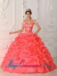 coral quince dress sweet 15 quinceanera dresses in coral gown straps with