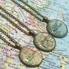 Personalized World Map by Custom Vintage Map Necklace You Select Location Worldwide One