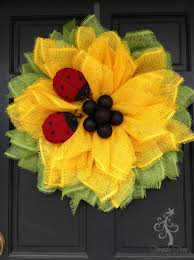 how to make a halloween wreath with mesh ribbon sunflower ladybug wreath 2016 trendy tree blog holiday decor