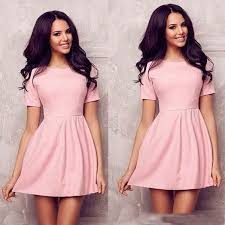 2015 women summer short sleeve mini dress casual o neck cute