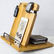 personalized wood phone docking station organizer phones