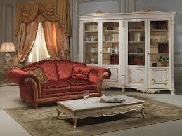 classic living room with carved glass showcase in louis xv style