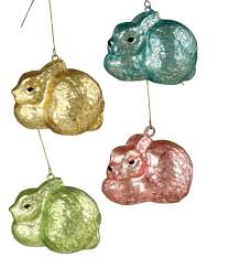 bethany lowe pastel mercury glass easter bunny ornaments set of 4