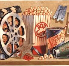 camera reel wallpaper amazon com old time movie reel treats popcorn wallpaper border