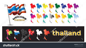 The National Map Symbol Poster Banner Map Thailand Decoration Stock Vector
