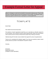 exle of formal letter to government exle of appeal letter download appeal letter sle for