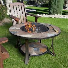 slate fire pit table 34 round slate wood burning fire pit table grate spark screen cover