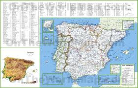 map of cities large detailed map of spain and portugal with cities and towns
