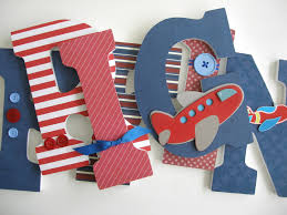 Letters For Baby Nursery Wooden Letter Set Airplane Nursery Aviator Bedroom For