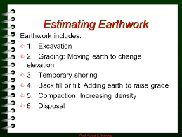 Excavation Estimating by Estimating Earthwork Prof Awad S Ppt