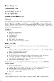 Resume 10 Years Experience Sample by Professional Medical Claims Processor Templates To Showcase Your