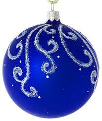 snowy pattern painted glass ornament blue matte