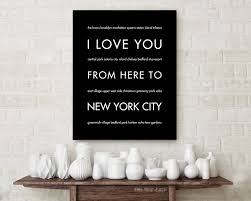 nyc art print home decor i love you from here to new york