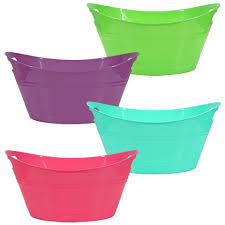 bulk colorful plastic oval storage tubs with handles at dollartree