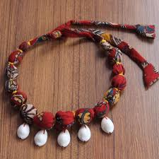 red necklace online images Necklace kalamkari red upcycled textile bead necklace online at JPG