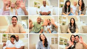 montage of images showing adults families using modern